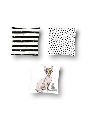 Tezkotekstil Tezko Tekstil Kedi Desen Dijital Baskılı 3'Lü Kombin Dekoratif Yastık Kırlent Kılıfı Renkli
